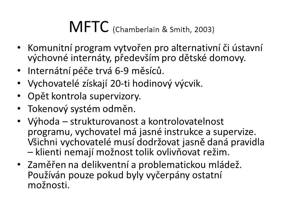 MFTC (Chamberlain & Smith, 2003) Komunitní program vytvořen pro alternativní či ústavní výchovné internáty, především pro dětské domovy. Internátní pé