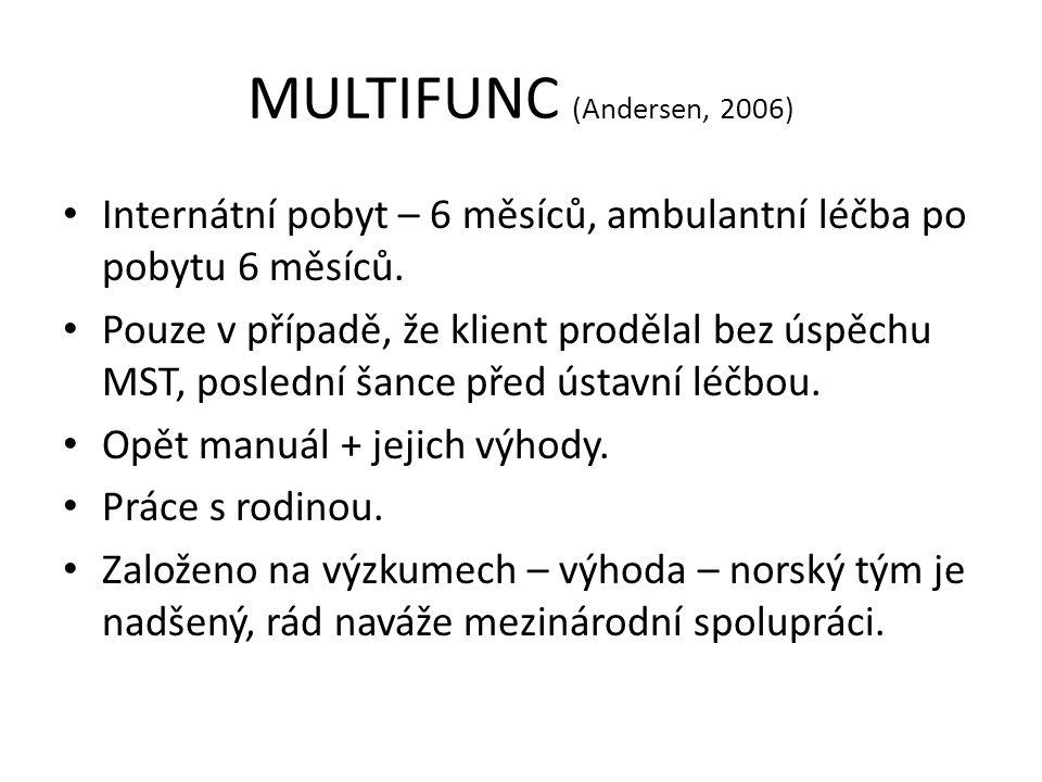 MULTIFUNC (Andersen, 2006) Internátní pobyt – 6 měsíců, ambulantní léčba po pobytu 6 měsíců. Pouze v případě, že klient prodělal bez úspěchu MST, posl