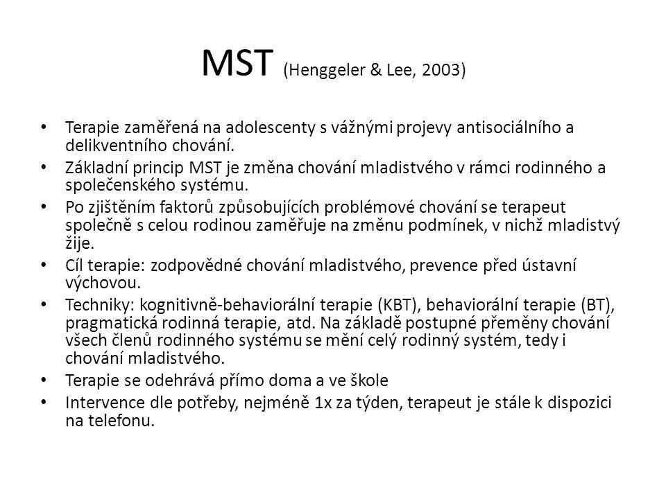 MST (Henggeler & Lee, 2003) Terapie zaměřená na adolescenty s vážnými projevy antisociálního a delikventního chování. Základní princip MST je změna ch