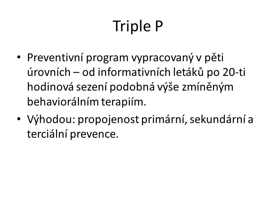 Triple P Preventivní program vypracovaný v pěti úrovních – od informativních letáků po 20-ti hodinová sezení podobná výše zmíněným behaviorálním terap