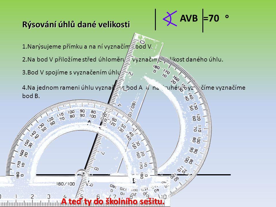 Rýsování úhlů dané velikosti 1.Narýsujeme přímku a na ní vyznačíme bod V. 2.Na bod V přiložíme střed úhloměru a vyznačíme velikost daného úhlu. 3.Bod