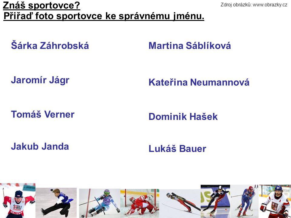 Znáš sportovce. Přiřaď foto sportovce ke správnému jménu.