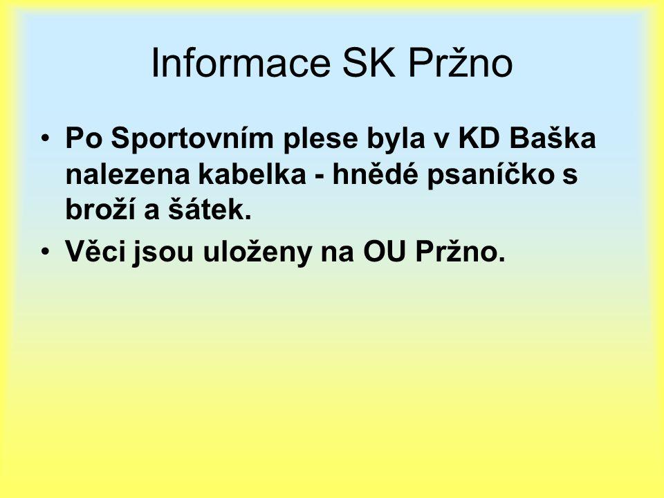 Informace SK Pržno Po Sportovním plese byla v KD Baška nalezena kabelka - hnědé psaníčko s broží a šátek. Věci jsou uloženy na OU Pržno.
