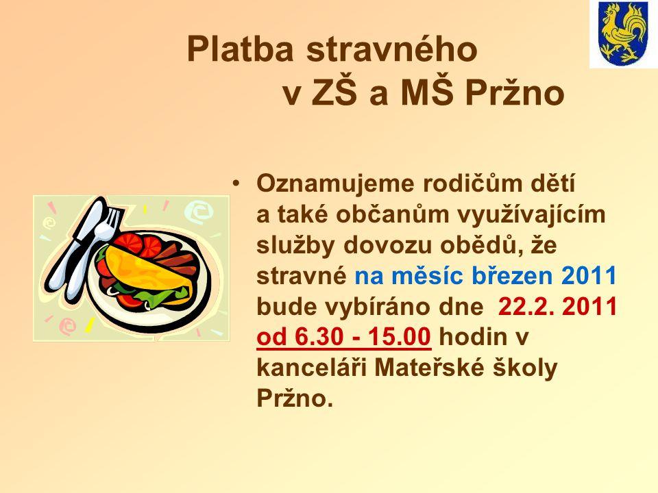 Platba stravného v ZŠ a MŠ Pržno Oznamujeme rodičům dětí a také občanům využívajícím služby dovozu obědů, že stravné na měsíc březen 2011 bude vybírán