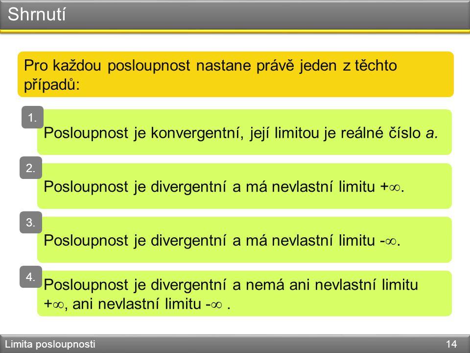 Shrnutí Limita posloupnosti 14 Pro každou posloupnost nastane právě jeden z těchto případů: Posloupnost je konvergentní, její limitou je reálné číslo