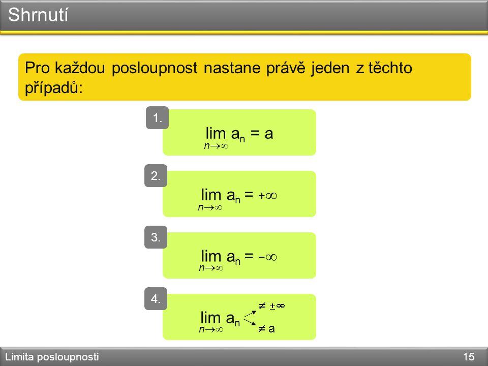 Shrnutí Limita posloupnosti 15 Pro každou posloupnost nastane právě jeden z těchto případů: lim a n = a 1. n  lim a n = +  2. n  lim a n = −  3.
