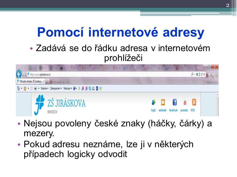 Pomocí internetové adresy 2 Zadává se do řádku adresa v internetovém prohlížeči Nejsou povoleny české znaky (háčky, čárky) a mezery. Pokud adresu nezn