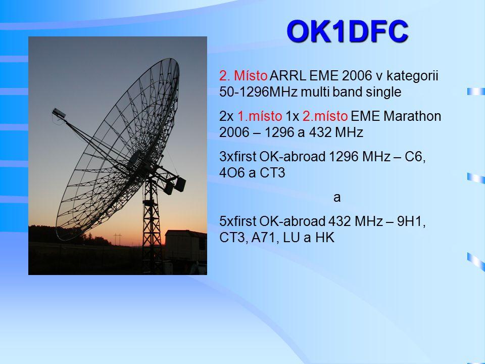 2. Místo ARRL EME 2006 v kategorii 50-1296MHz multi band single 2x 1.místo 1x 2.místo EME Marathon 2006 – 1296 a 432 MHz 3xfirst OK-abroad 1296 MHz –
