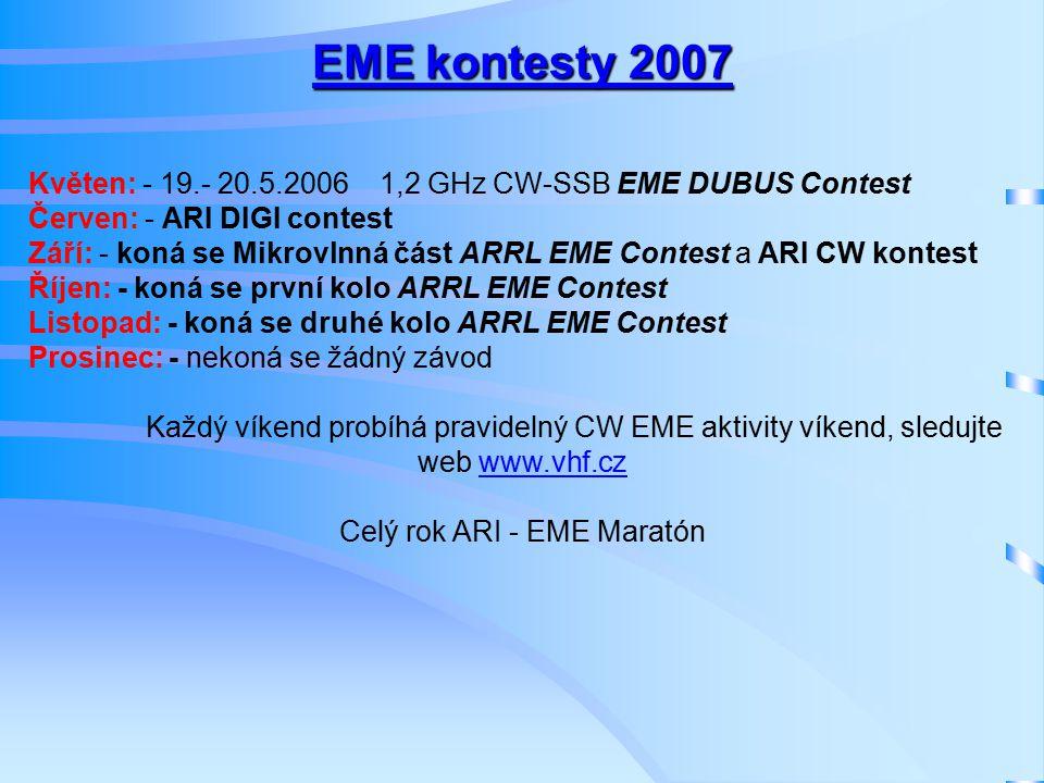 EME kontesty 2007 Květen: - 19.- 20.5.2006 1,2 GHz CW-SSB EME DUBUS Contest Červen: - ARI DIGI contest Září: - koná se Mikrovlnná část ARRL EME Contest a ARI CW kontest Říjen: - koná se první kolo ARRL EME Contest Listopad: - koná se druhé kolo ARRL EME Contest Prosinec: - nekoná se žádný závod Každý víkend probíhá pravidelný CW EME aktivity víkend, sledujte web www.vhf.cz Celý rok ARI - EME Maratón