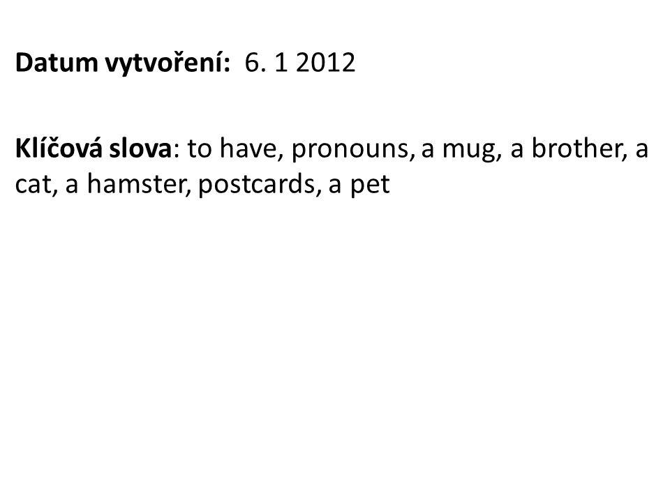 Datum vytvoření: 6. 1 2012 Klíčová slova: to have, pronouns, a mug, a brother, a cat, a hamster, postcards, a pet