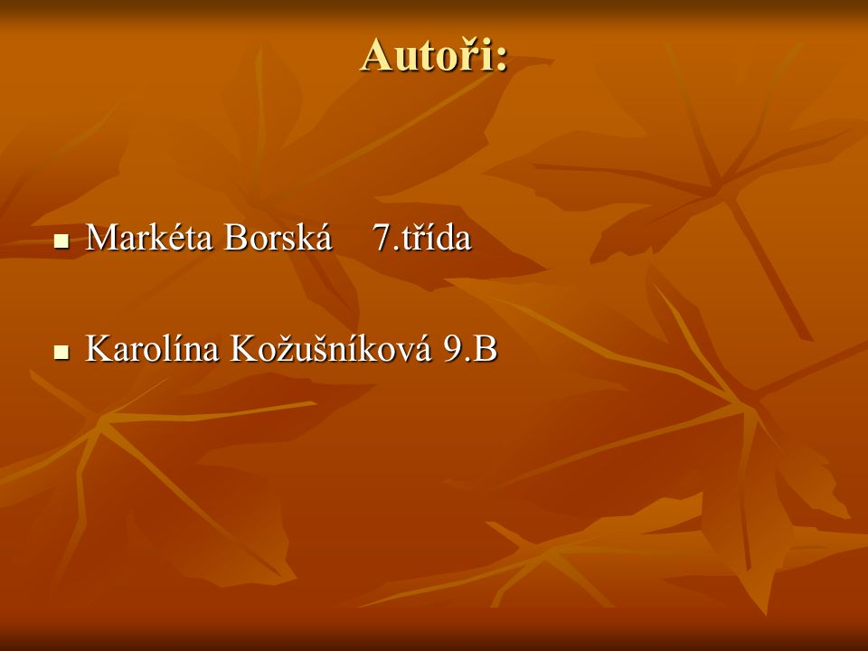 Autoři: Markéta Borská 7.třída Markéta Borská 7.třída Karolína Kožušníková 9.B Karolína Kožušníková 9.B