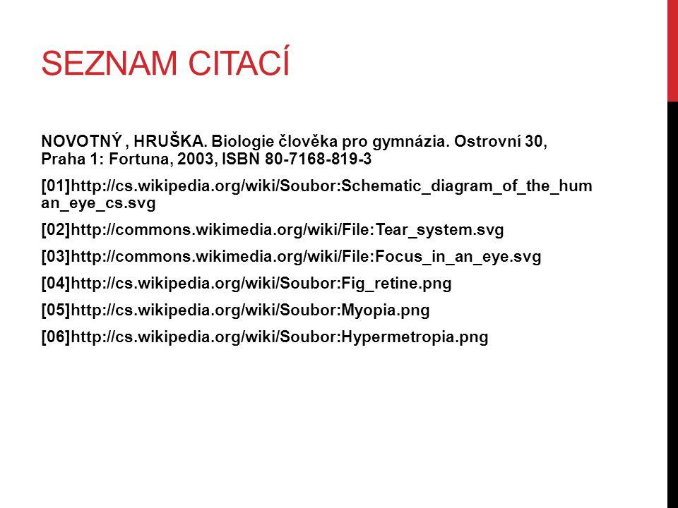 SEZNAM CITACÍ NOVOTNÝ, HRUŠKA. Biologie člověka pro gymnázia. Ostrovní 30, Praha 1: Fortuna, 2003, ISBN 80-7168-819-3 [01]http://cs.wikipedia.org/wiki