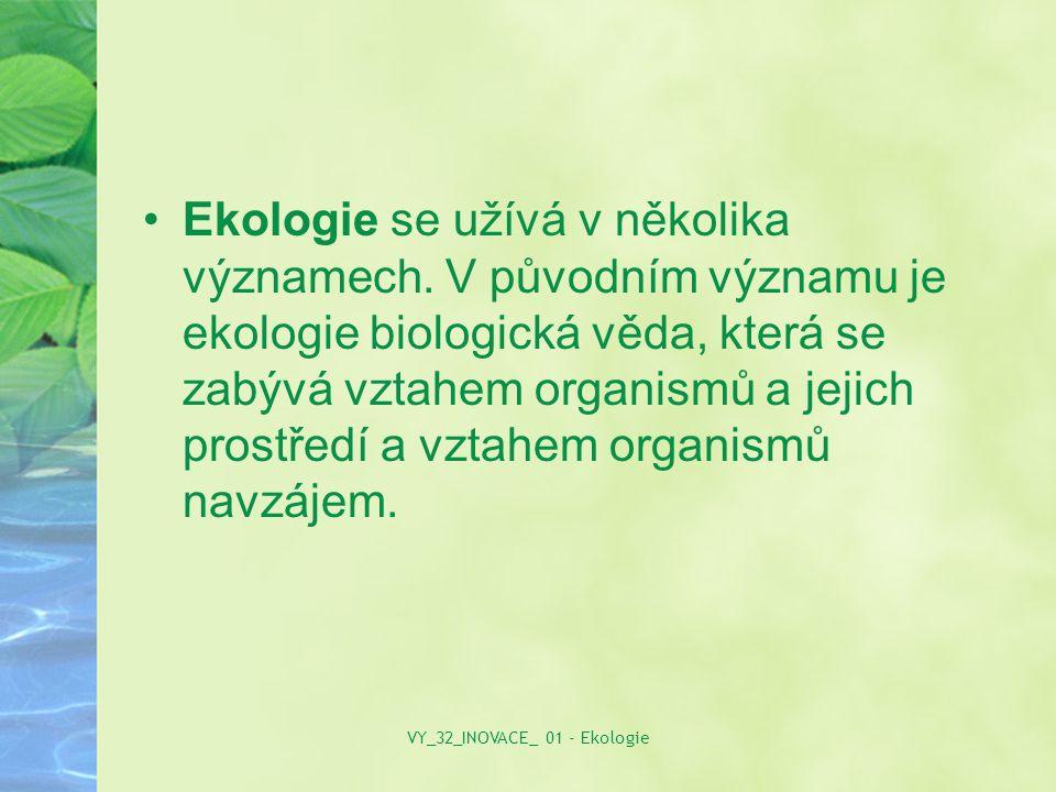 Ekologie se užívá v několika významech. V původním významu je ekologie biologická věda, která se zabývá vztahem organismů a jejich prostředí a vztahem