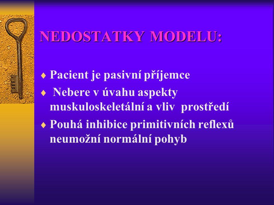 NEDOSTATKY MODELU:  Pacient je pasivní příjemce  Nebere v úvahu aspekty muskuloskeletální a vliv prostředí  Pouhá inhibice primitivních reflexů neu