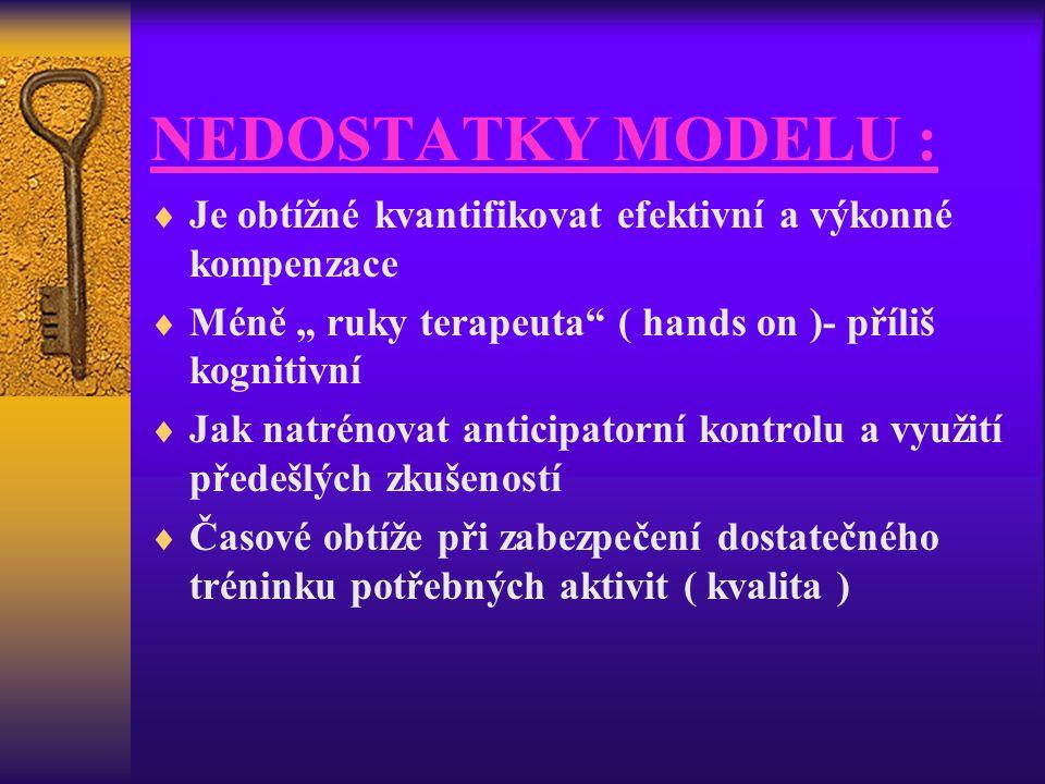 """NEDOSTATKY MODELU :  Je obtížné kvantifikovat efektivní a výkonné kompenzace  Méně """" ruky terapeuta"""" ( hands on )- příliš kognitivní  Jak natrénova"""