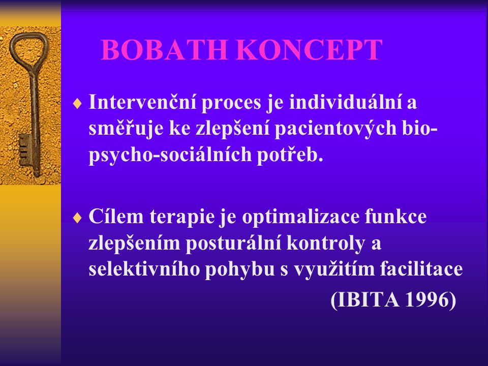 BOBATH KONCEPT  Intervenční proces je individuální a směřuje ke zlepšení pacientových bio- psycho-sociálních potřeb.  Cílem terapie je optimalizace
