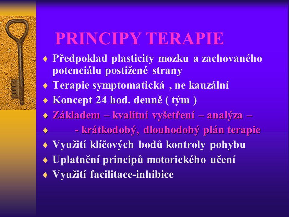 PRINCIPY TERAPIE  Předpoklad plasticity mozku a zachovaného potenciálu postižené strany  Terapie symptomatická, ne kauzální  Koncept 24 hod. denně