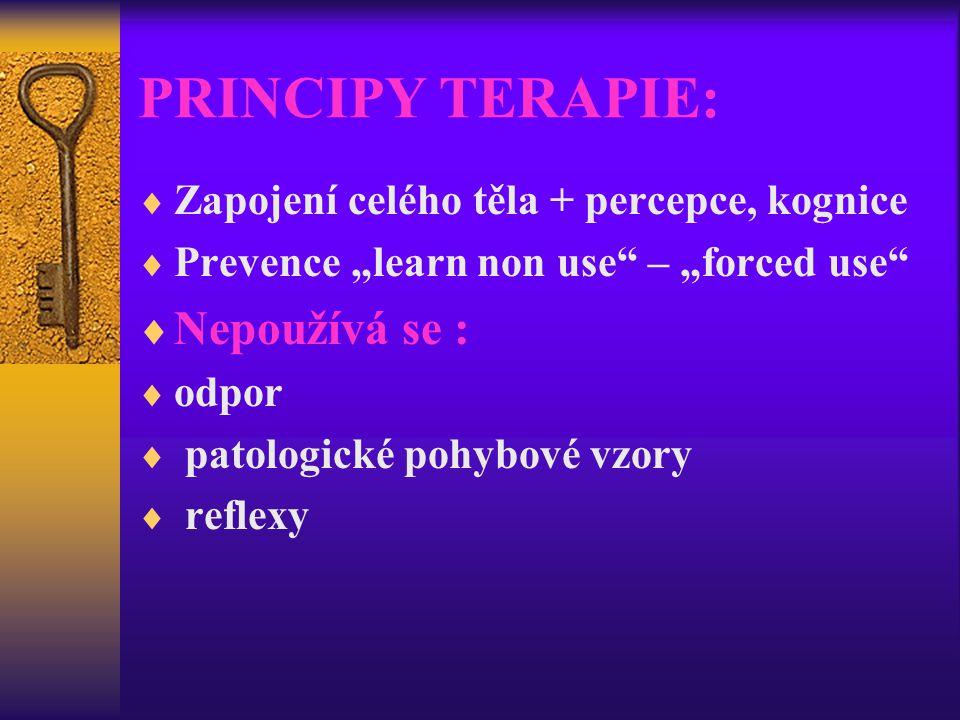"""PRINCIPY TERAPIE:  Zapojení celého těla + percepce, kognice  Prevence """"learn non use"""" – """"forced use""""  Nepoužívá se :  odpor  patologické pohybové"""
