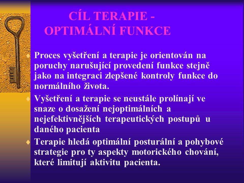 CÍL TERAPIE - OPTIMÁLNÍ FUNKCE  Proces vyšetření a terapie je orientován na poruchy narušující provedení funkce stejně jako na integraci zlepšené kon