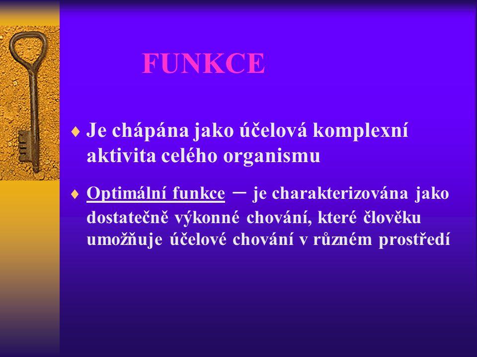 FUNKCE  Je chápána jako účelová komplexní aktivita celého organismu  Optimální funkce – je charakterizována jako dostatečně výkonné chování, které č