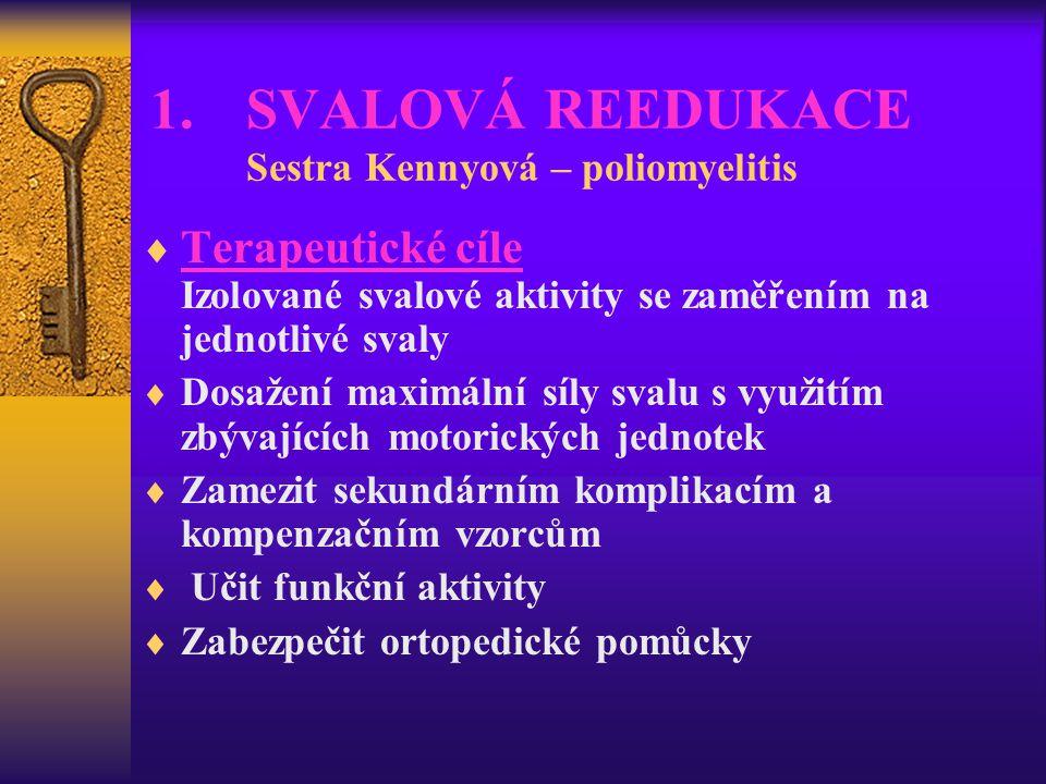 1.SVALOVÁ REEDUKACE Sestra Kennyová – poliomyelitis  Terapeutické cíle Izolované svalové aktivity se zaměřením na jednotlivé svaly  Dosažení maximál
