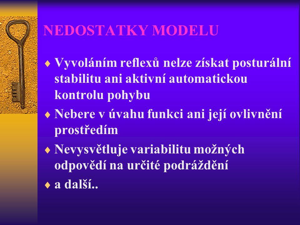NEDOSTATKY MODELU  Vyvoláním reflexů nelze získat posturální stabilitu ani aktivní automatickou kontrolu pohybu  Nebere v úvahu funkci ani její ovli
