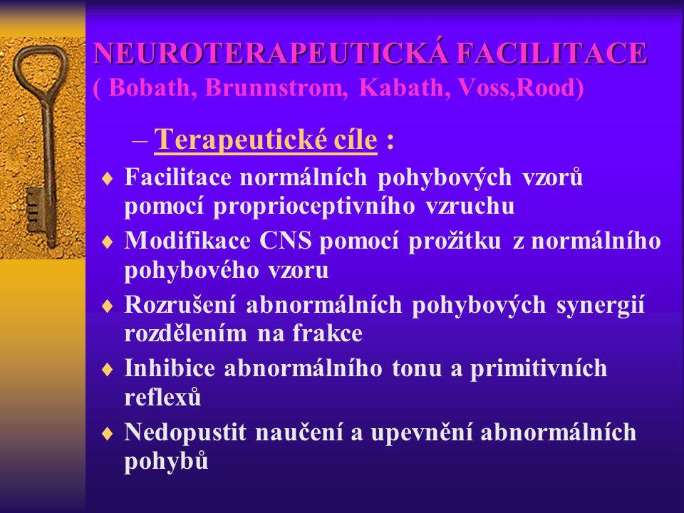 NEUROTERAPEUTICKÁ FACILITACE NEUROTERAPEUTICKÁ FACILITACE ( Bobath, Brunnstrom, Kabath, Voss,Rood) –Terapeutické cíle :  Facilitace normálních pohybo