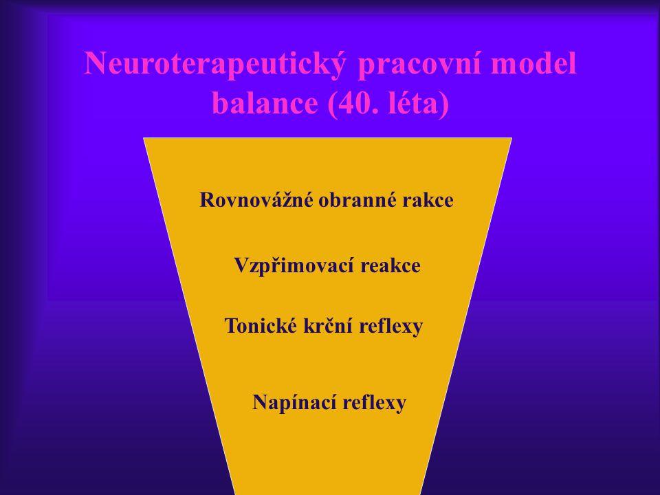 Neuroterapeutický pracovní model balance (40. léta) Rovnovážné obranné rakce Tonické krční reflexy Napínací reflexy Vzpřimovací reakce