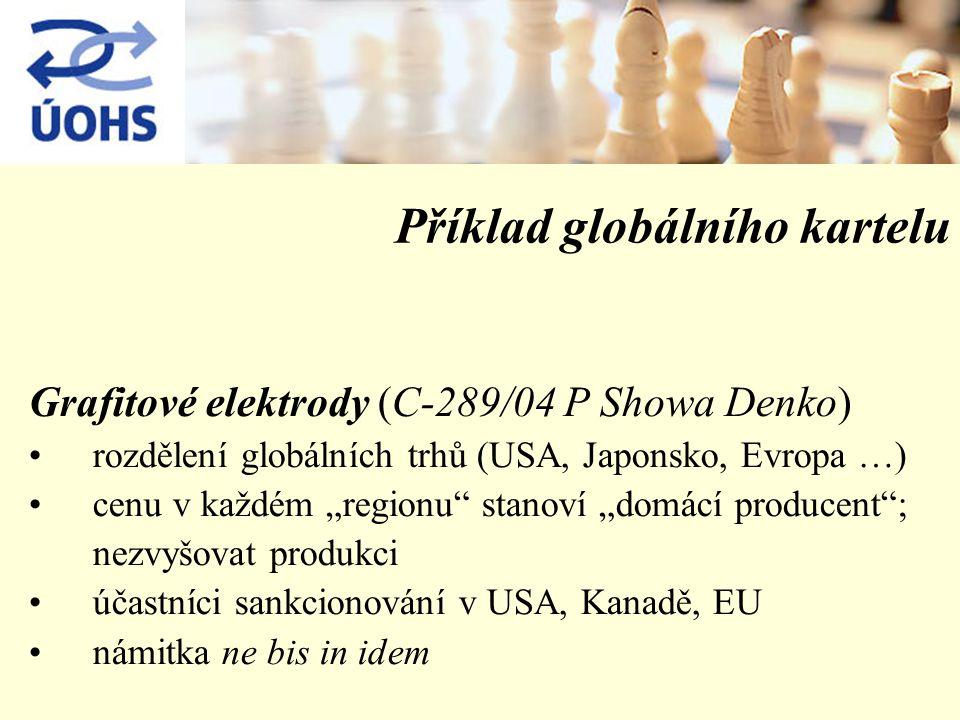 """Příklad globálního kartelu Grafitové elektrody (C-289/04 P Showa Denko) rozdělení globálních trhů (USA, Japonsko, Evropa …) cenu v každém """"regionu stanoví """"domácí producent ; nezvyšovat produkci účastníci sankcionování v USA, Kanadě, EU námitka ne bis in idem"""