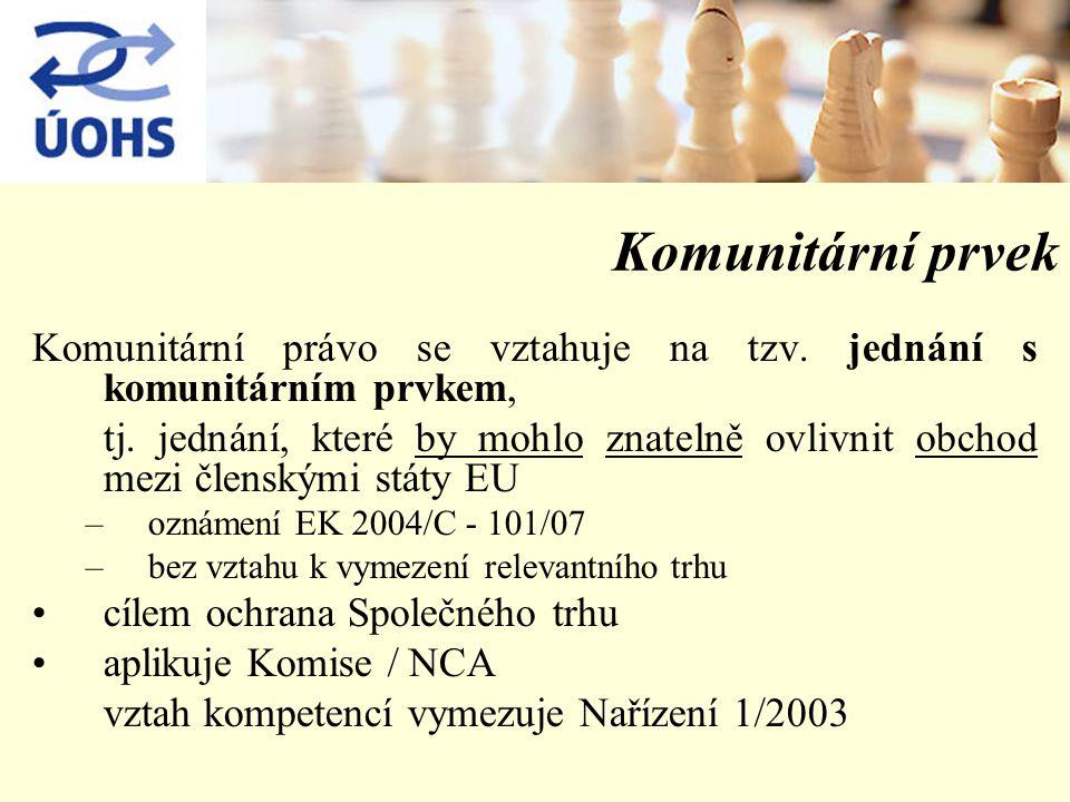 Komunitární prvek Komunitární právo se vztahuje na tzv.