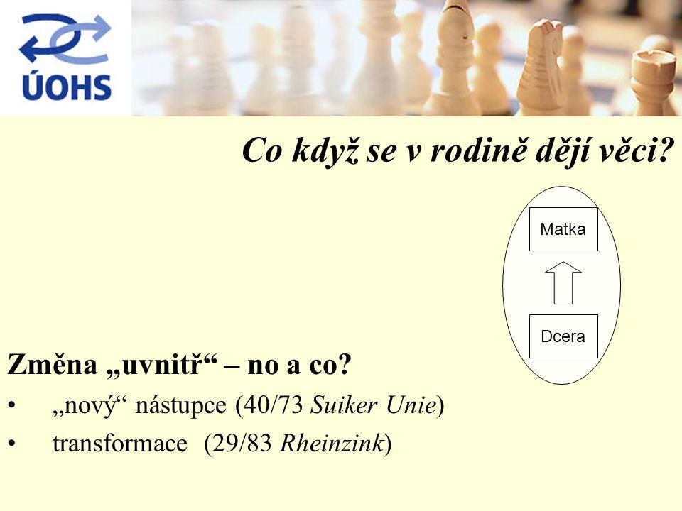 """Co když se v rodině dějí věci? Změna """"uvnitř"""" – no a co? """"nový"""" nástupce (40/73 Suiker Unie) transformace (29/83 Rheinzink) Matka Dcera"""