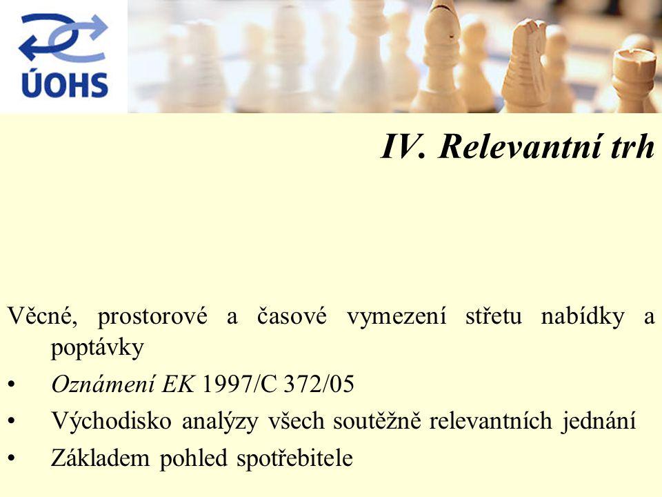 IV. Relevantní trh Věcné, prostorové a časové vymezení střetu nabídky a poptávky Oznámení EK 1997/C 372/05 Východisko analýzy všech soutěžně relevantn