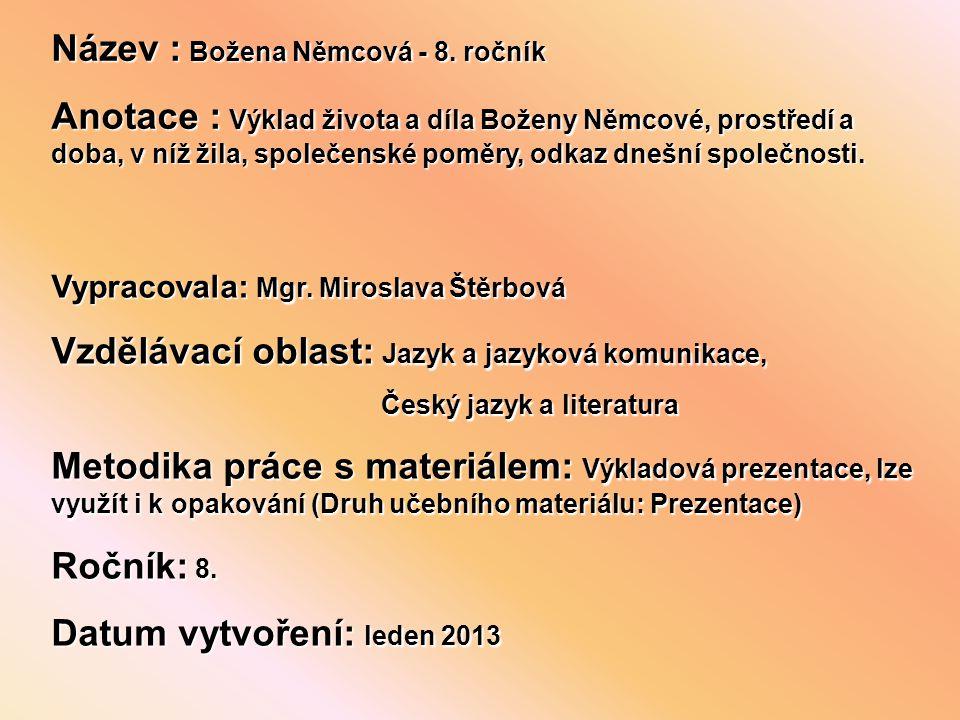 Název : Božena Němcová - 8.