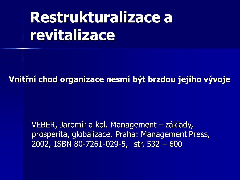 Restrukturalizace a revitalizace VEBER, Jaromír a kol. Management – základy, prosperita, globalizace. Praha: Management Press, 2002, ISBN 80-7261-029-