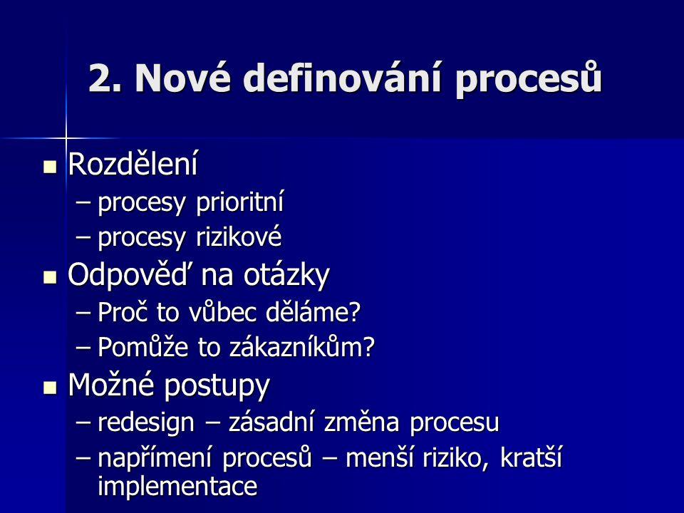 2. Nové definování procesů Rozdělení Rozdělení –procesy prioritní –procesy rizikové Odpověď na otázky Odpověď na otázky –Proč to vůbec děláme? –Pomůže