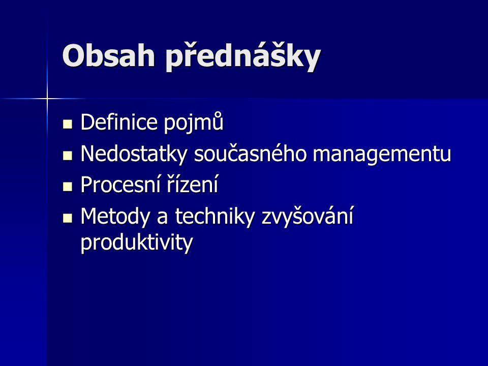 Obsah přednášky Definice pojmů Definice pojmů Nedostatky současného managementu Nedostatky současného managementu Procesní řízení Procesní řízení Meto