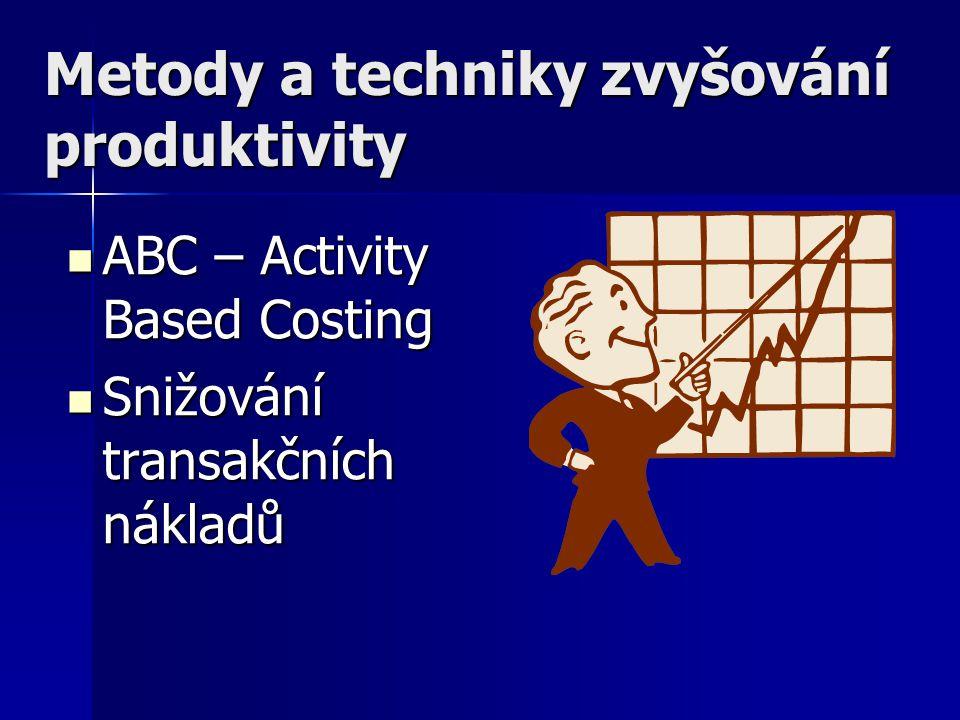 Metody a techniky zvyšování produktivity ABC – Activity Based Costing ABC – Activity Based Costing Snižování transakčních nákladů Snižování transakční