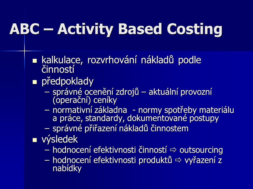 ABC – Activity Based Costing kalkulace, rozvrhování nákladů podle činností kalkulace, rozvrhování nákladů podle činností předpoklady předpoklady –sprá