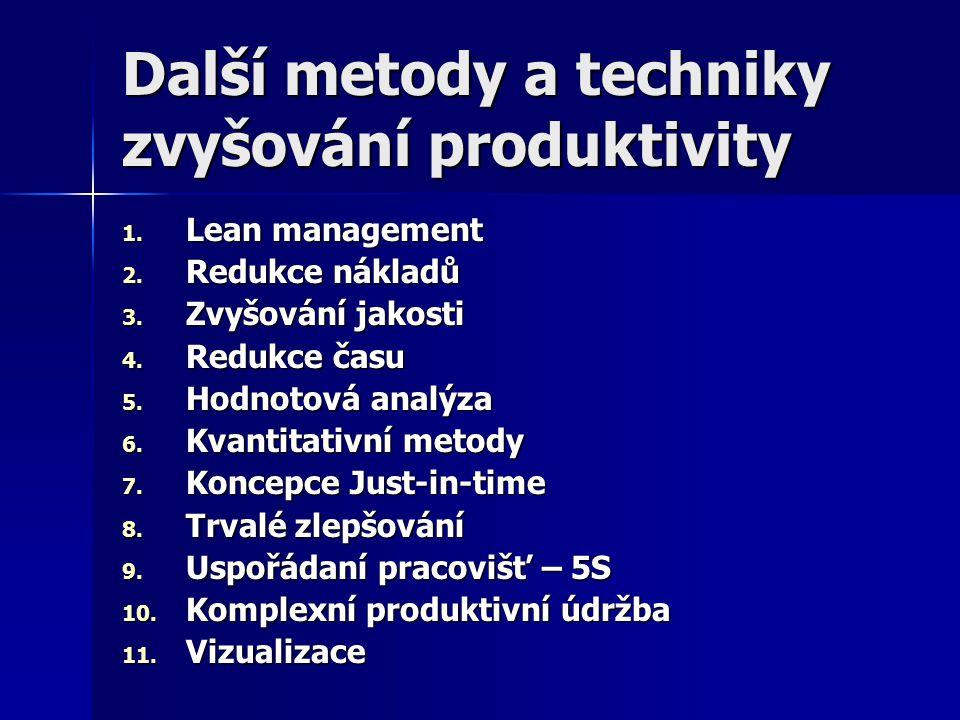 Další metody a techniky zvyšování produktivity 1. Lean management 2. Redukce nákladů 3. Zvyšování jakosti 4. Redukce času 5. Hodnotová analýza 6. Kvan