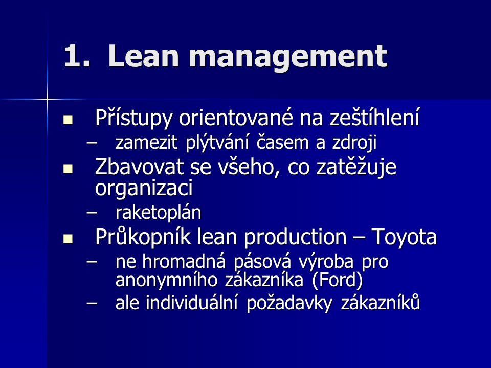 1.Lean management Přístupy orientované na zeštíhlení Přístupy orientované na zeštíhlení –zamezit plýtvání časem a zdroji Zbavovat se všeho, co zatěžuj
