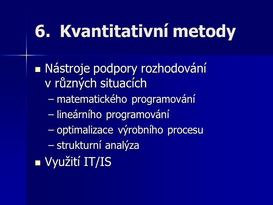 6.Kvantitativní metody Nástroje podpory rozhodování v různých situacích Nástroje podpory rozhodování v různých situacích –matematického programování –