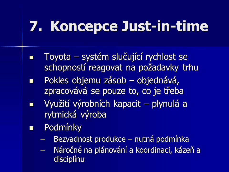 7.Koncepce Just-in-time Toyota – systém slučující rychlost se schopností reagovat na požadavky trhu Toyota – systém slučující rychlost se schopností r