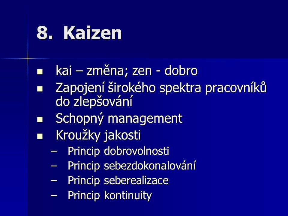 8.Kaizen kai – změna; zen - dobro kai – změna; zen - dobro Zapojení širokého spektra pracovníků do zlepšování Zapojení širokého spektra pracovníků do