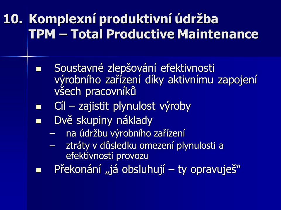 10.Komplexní produktivní údržba TPM – Total Productive Maintenance Soustavné zlepšování efektivnosti výrobního zařízení díky aktivnímu zapojení všech