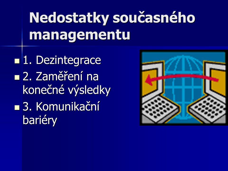 Nedostatky současného managementu 1. Dezintegrace 1. Dezintegrace 2. Zaměření na konečné výsledky 2. Zaměření na konečné výsledky 3. Komunikační barié
