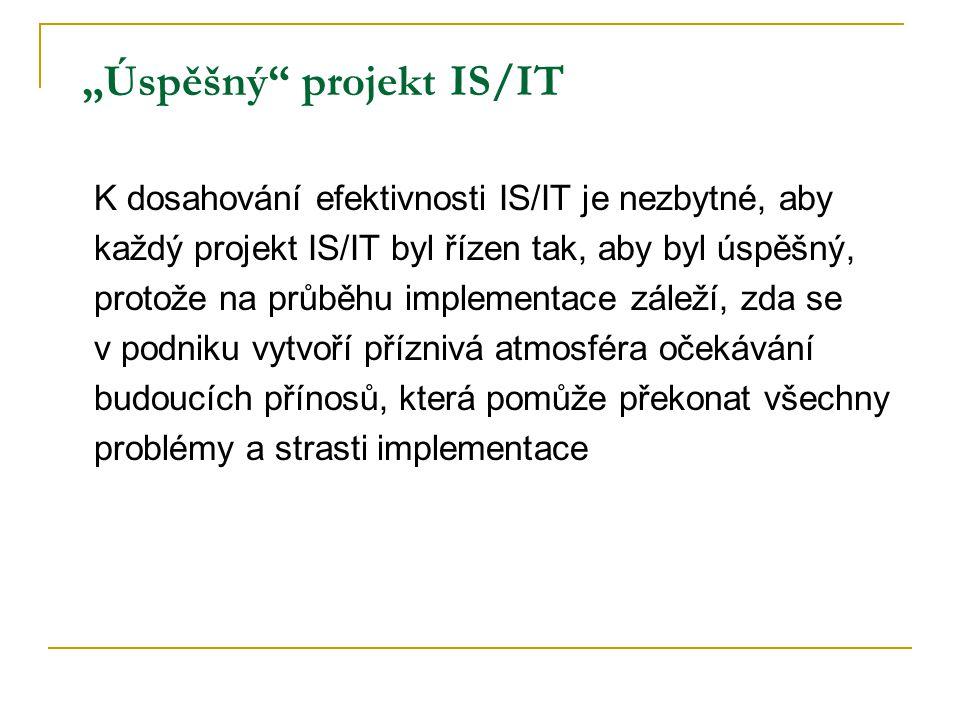 """""""Úspěšný"""" projekt IS/IT K dosahování efektivnosti IS/IT je nezbytné, aby každý projekt IS/IT byl řízen tak, aby byl úspěšný, protože na průběhu implem"""
