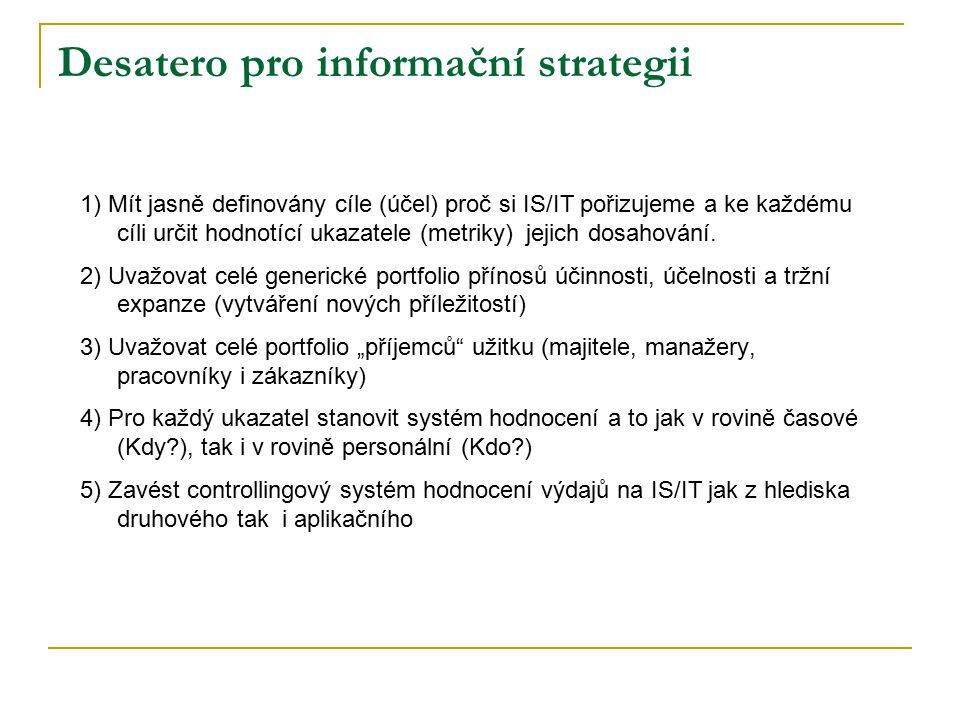 Desatero pro informační strategii 1) Mít jasně definovány cíle (účel) proč si IS/IT pořizujeme a ke každému cíli určit hodnotící ukazatele (metriky) j