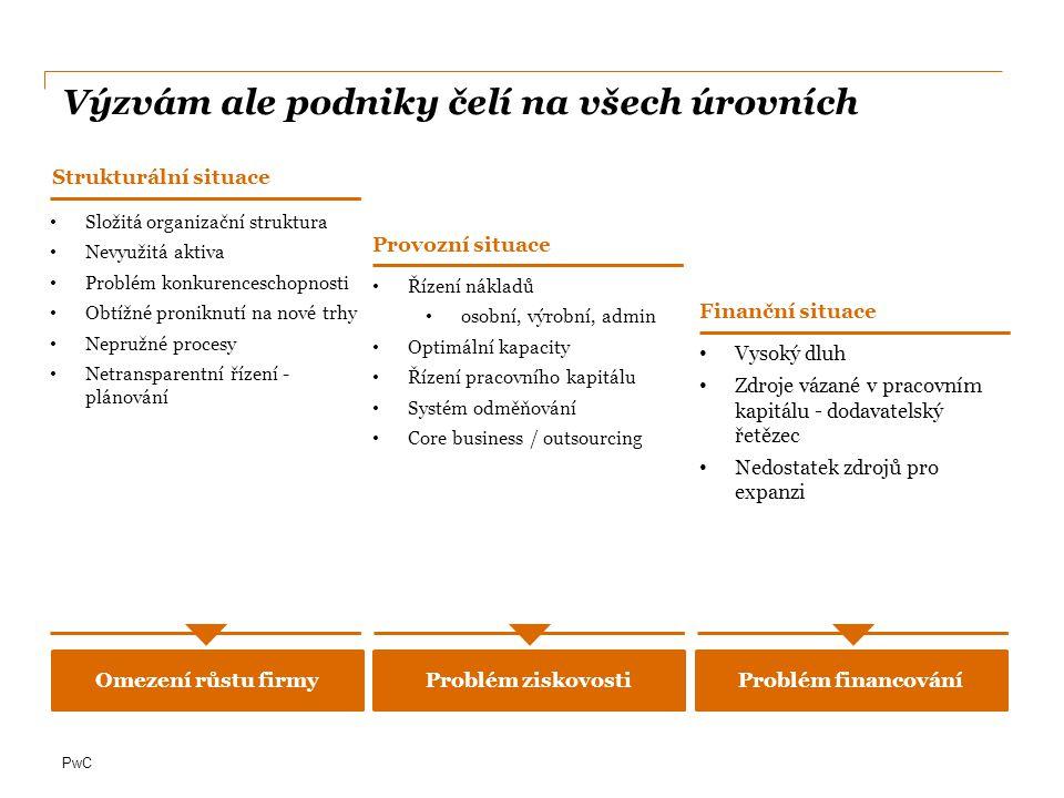 PwC Odložení splátek/změna splátkových kalendářů Refinancování dluhu Revize platebních podmínek s dodavateli a bankami Navýšení základního kapitálu Zajištění externího financování (základní kapitál, úvěry) Příprava podkladů pro potenciální investory / financující instituce (tzv.