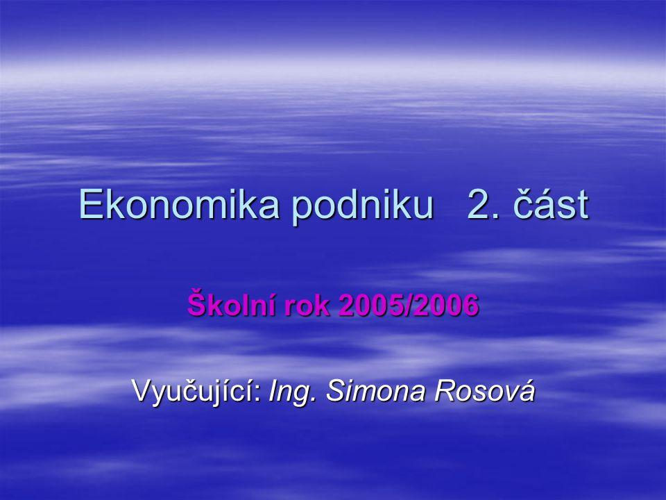 Ekonomika podniku 2. část Školní rok 2005/2006 Vyučující: Ing. Simona Rosová