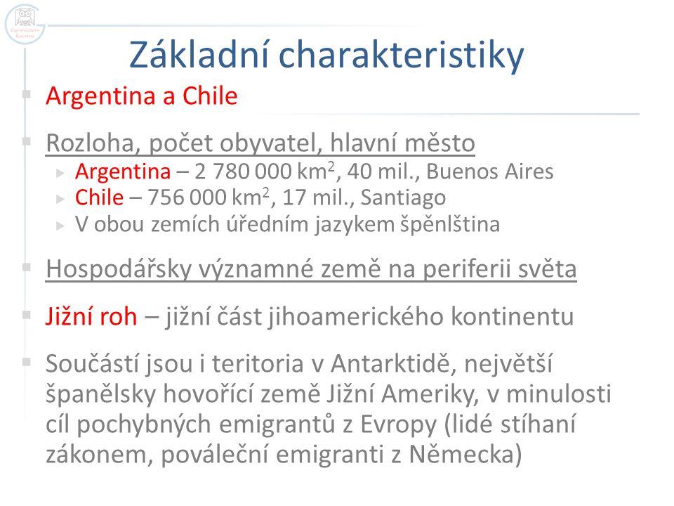 Základní charakteristiky  Argentina a Chile  Rozloha, počet obyvatel, hlavní město  Argentina – 2 780 000 km 2, 40 mil., Buenos Aires  Chile – 756 000 km 2, 17 mil., Santiago  V obou zemích úředním jazykem špěnlština  Hospodářsky významné země na periferii světa  Jižní roh – jižní část jihoamerického kontinentu  Součástí jsou i teritoria v Antarktidě, největší španělsky hovořící země Jižní Ameriky, v minulosti cíl pochybných emigrantů z Evropy (lidé stíhaní zákonem, pováleční emigranti z Německa)